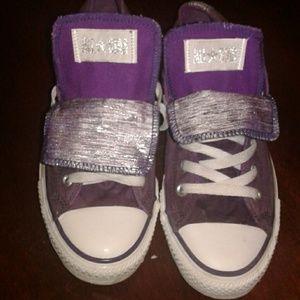 Purple low top Converse double tongue size 9 women